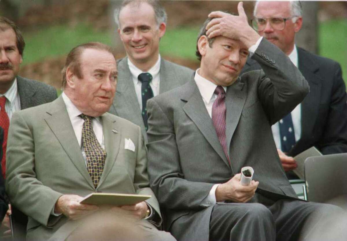 Times Union photo by STEVE JACOBS ,4/24/96, Albany,NY-- NYS Governor George Pataki,right, sits with former NYS Governor at an Arbor Day tree dedication ceremony at the Executive Mansion, Wednesday. A tree in the Mansion yard was dedicated to Hugh Carey. ( for story) 2 of 2 photos