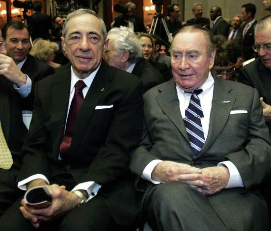 In this Jan. 7, 2009 photo, former New York Govs. Mario Cuomo, left, and Hugh Carey are seen at the Capitol in Albany, N.Y. Carey, who led the rescue effort that brought New York City back from the brink of bankruptcy during its 1975 fiscal crisis, died Sunday, Aug. 7, 2011. He was 92. (AP Photo/Mike Groll, File) Photo: Mike Groll / AP2009