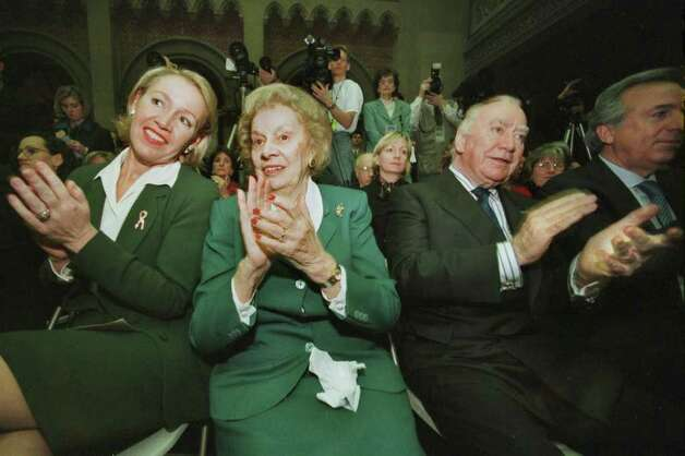 First Lady Libby Pataki is seated with the governor's mother and with formner governor, Hugh L. Carey during Gov. George Pataki's State of the State address at the Assembly chambers in the State Capitol in Albany on January 6, 1999. (Times Union Archive) Photo: MICHAEL P. FARRELL / ALBANY TIMES UNION