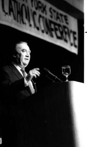 Former Gov. Hugh Carey address the state conference of Catholics concerning abortion. 1/17/1990  (Times Union Archive) Photo: Skip Dickstein