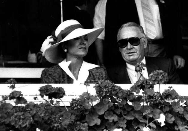 GOV. HUGH CAREY and his wife, Evangeline, at Saratoga Race Course 8/17/85 -  (Times Union Archive) Photo: Tom LaPoint