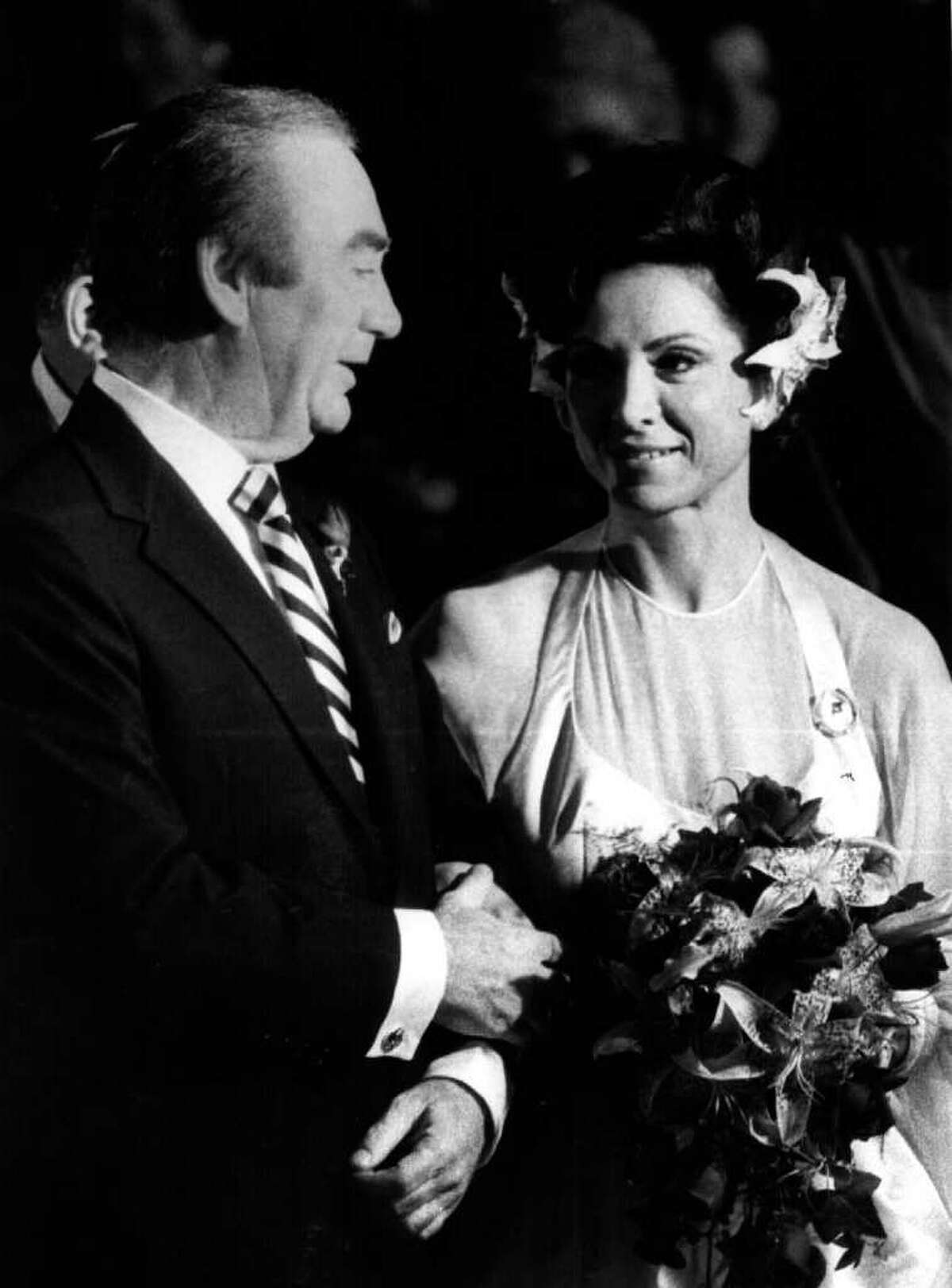 GOV. HUGH CAREY's marriage to Evangeline 4/15/81 - (Times Union Archive)