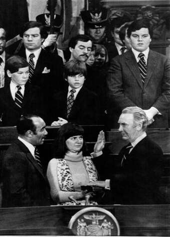GOV. HUGH CAREY takes the oath of office at the State Capitol in Albany. Jan. 2 1979. -  (Times Union Archive) Photo: None
