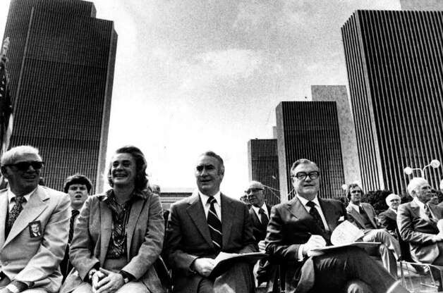 GOV. HUGH CAREY --Is shown with former Gov. Nelson Rockerfeller and his wife, Happy, 10/7/78. -  (Times Union Archive) Photo: None