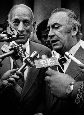 GOV. HUGH CAREY, right, with longtime Albany Mayor Erastus Corning at Albany City Hall 7/27/78. -  (Times Union Archive) Photo: Bob Richey