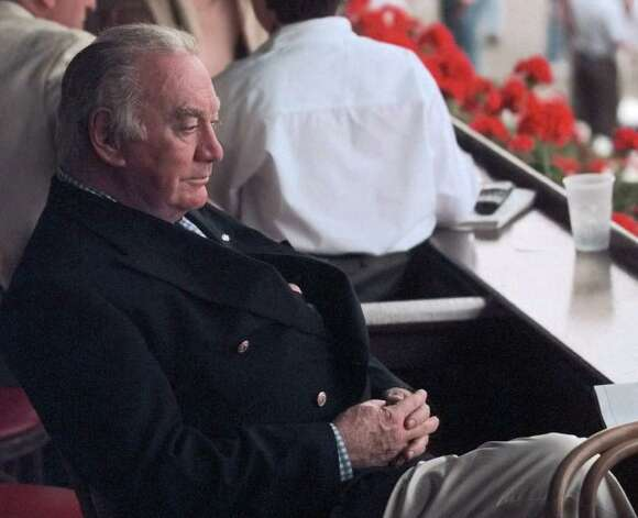 Former Gov. Hugh L. Carey enjoys a day at the races at the Saratoga Race Course on August 11, 1999. - (Times Union archive / Skip Dickstein) Photo: SKIP DICKSTEIN / ALBANY TIMES UNION