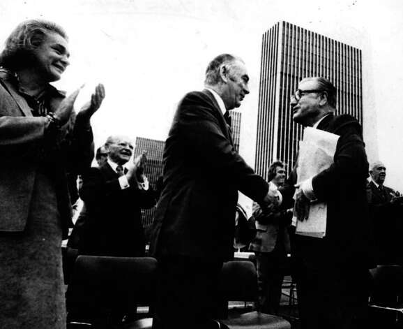 Happy Rockefeller and Gov. Hugh Carey and Nelson A. Rockefeller. 10/7/1978. (Times Union Archive) Photo: NONE
