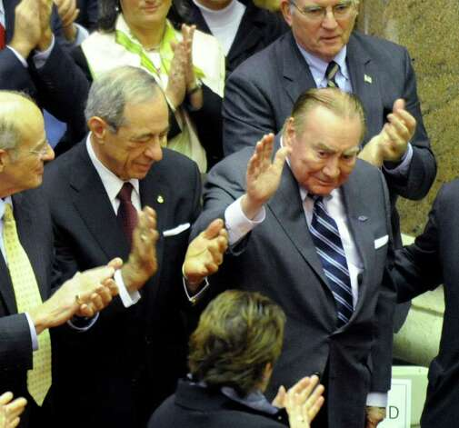 Former governors Mario Cuomo, left, and Hugh L. Carey are introduced in the Assembly Chamber at the State Capitol in Albany, New York Jan. 7, 2009. (SKIP DICKSTEIN/TIMES UNION ARCHIVE) Photo: SKIP DICKSTEIN / 00001919C