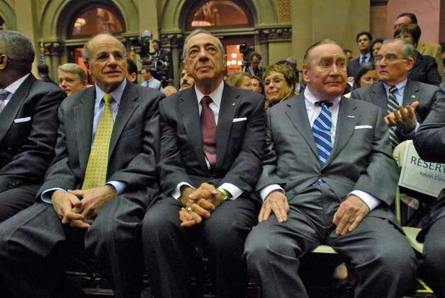 (PHILIP KAMRASS/TIMES UNION ARCHIVE)  Former governors Mario Cuomo, center, and Hugh Carey wait for the start of Gov. David Paterson's State of the State speech in the Assembly chamber at the Capitol in Albany, NY, on Wednesday January 7, 2009. Seated far right is Albany County Executive Michael Breslin, while seated far left is Alfred DelBello. (SKIP DICKSTEIN/TIMES UNION ARCHIVE) Photo: PHILIP KAMRASS / 00001919A