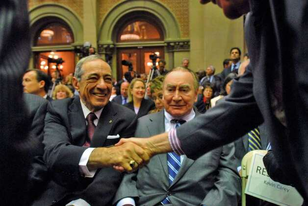 Former governors Mario Cuomo, left, and Hugh Carey wait for the start of Gov. David Paterson's State of the State speech in the Assembly chamber at the Capitol in Albany, NY,  on Wednesday, Jan. 7, 2009. (Philip Kamrass/ Times Union Archive) Photo: PHILIP KAMRASS / 00001919A