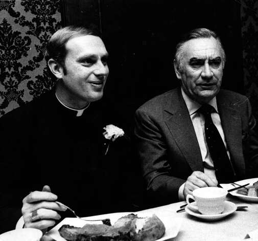 Bishop Howard Hubbard, with Governor Hugh Carey. 10/28/1977. (Times Union Archive)