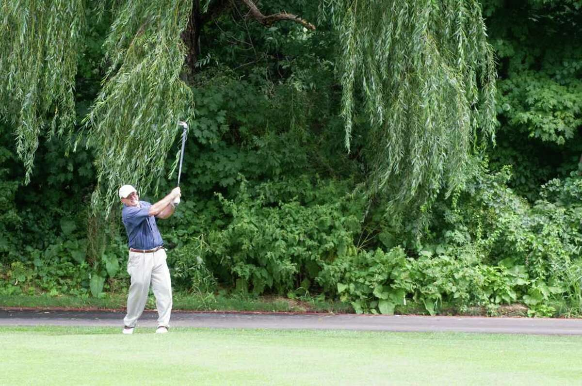 Lukas Konandreas in action during the Stamford Amateur Golf Championships at Sterling Farms Golf Course in Stamford, Conn., August 8, 2011.
