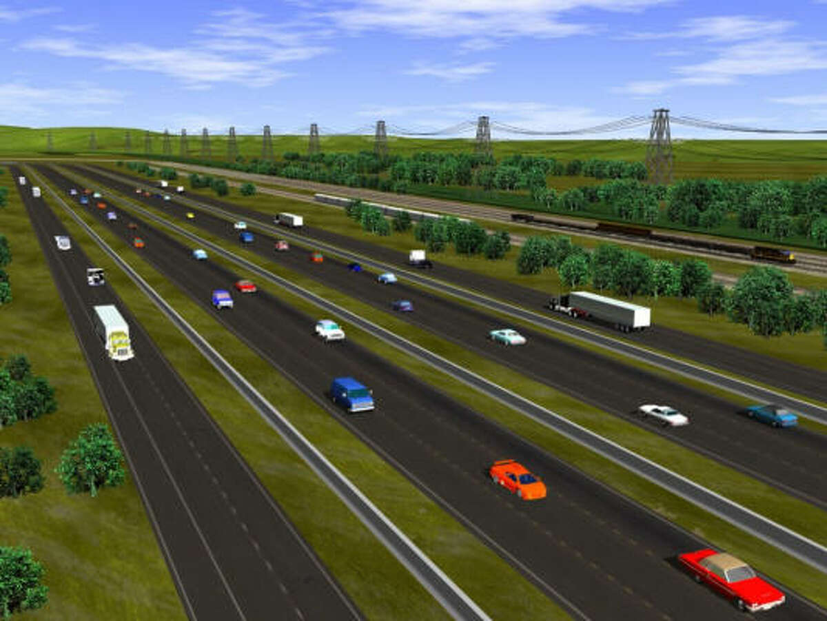 An artist's rendering shows how a section of the Trans-Texas Corridor might look in 2050.