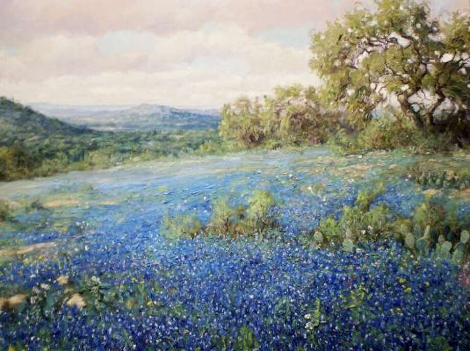 San Antonio-based Robert Harrison is one of the more traditional artists in The Texas Aesthetic show, as his oil work Fields of Blue displays. Photo: William Reaves Fine Art