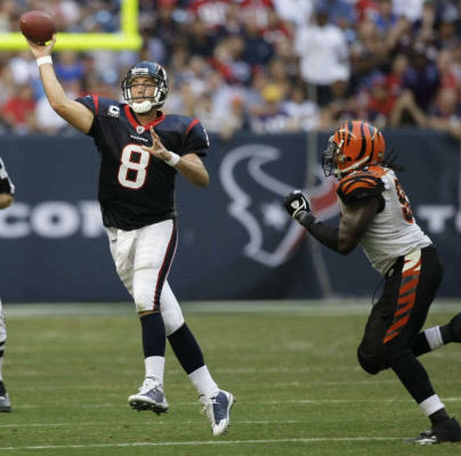 Texans quarterback Matt Schaub has the best passer rating in the league over the last five weeks. Photo: Brett Coomer, Chronicle