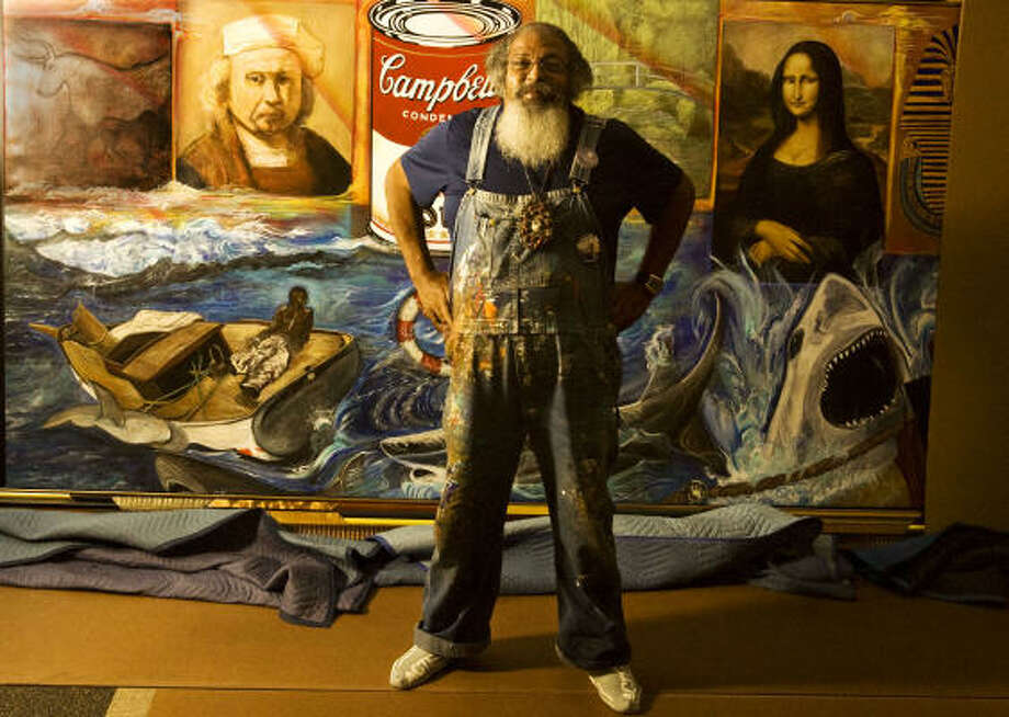 Local artist Bert Long unveiled his mural at Looscan Library. Photo: BILLY SMITH II :, Chronicle