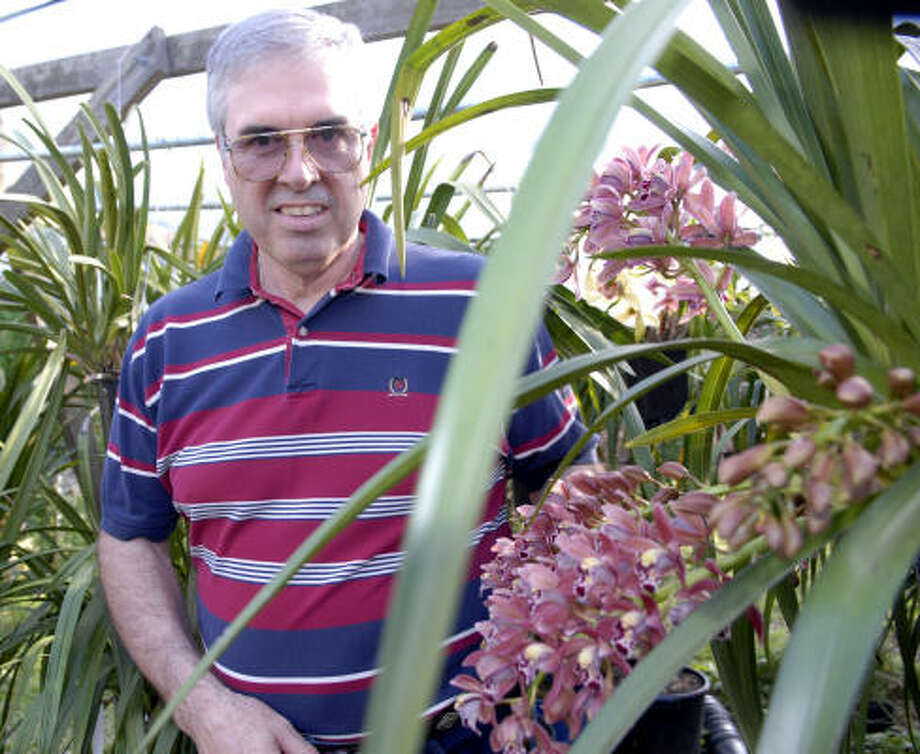 Larry Baker grows orchids in his backyard in Pearland. Photo: Kim Christensen, For The Chronicle