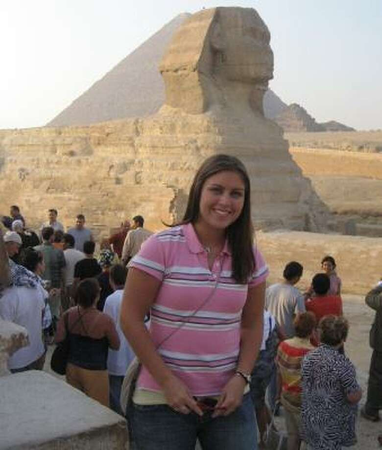 "Mandy Stoebe, 20, said Egypt was her ""favorite country."" She went into a pyramid, rode a camel and learned Egyptian history and culture. She wants to visit Egypt again. Photo: Handout, COURTESY MANDY STOEBE"