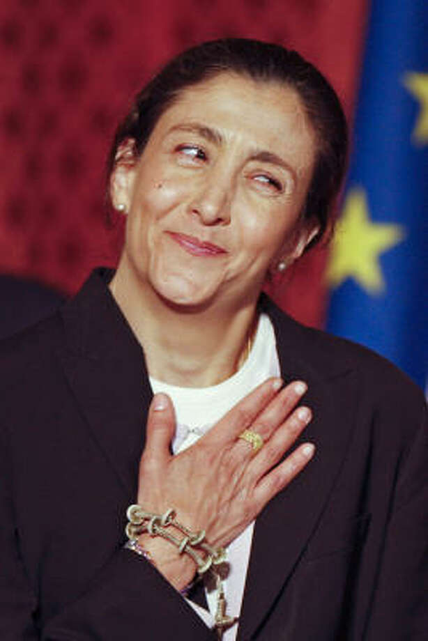 Former hostage Ingrid Betancourt reacts during a reception at the Elysee Palace in Paris on Friday. Photo: CHARLES PLATIAU, Associated Press