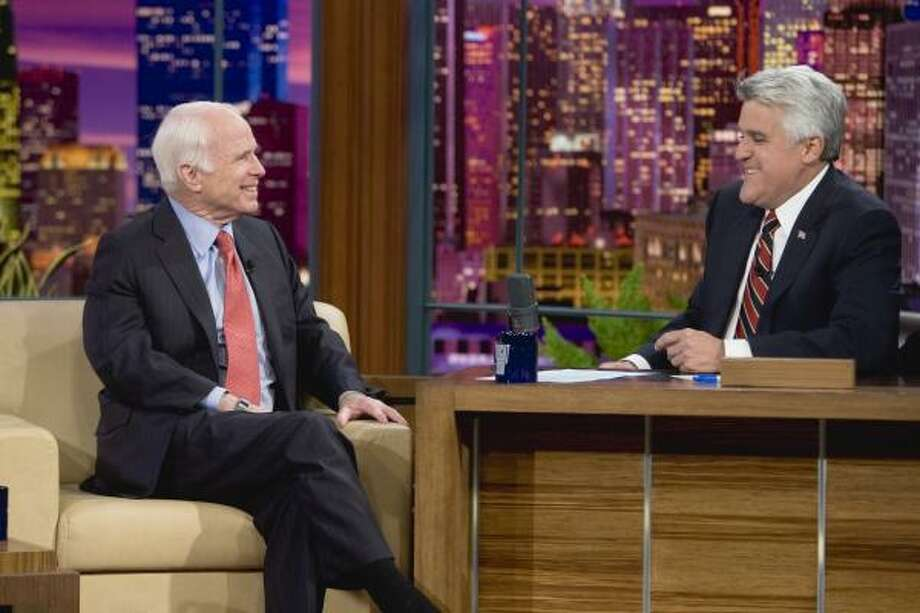 "John McCain's appearance on ""The Tonight Show With Jay Leno"" on Tuesday was his first interview since losing the presidential election to Barack Obama last week. Photo: Paul Drinkwater, NBCU Photo Bank"