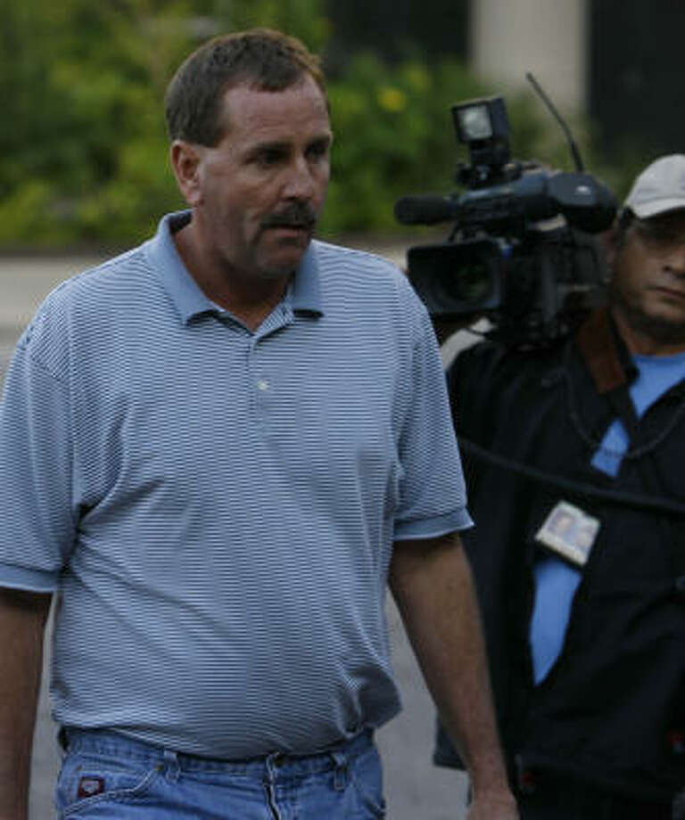 Robert Camp leaves the Bob Casey Federal Courthouse Wednesday in Houston. The federal complaint alleges that Camp, through his company Camp Landscaping, hired Juan Quintero knowing that he had been deported previously for a crime and was back in the country illegally. Photo: Melissa Phillip, Chronicle