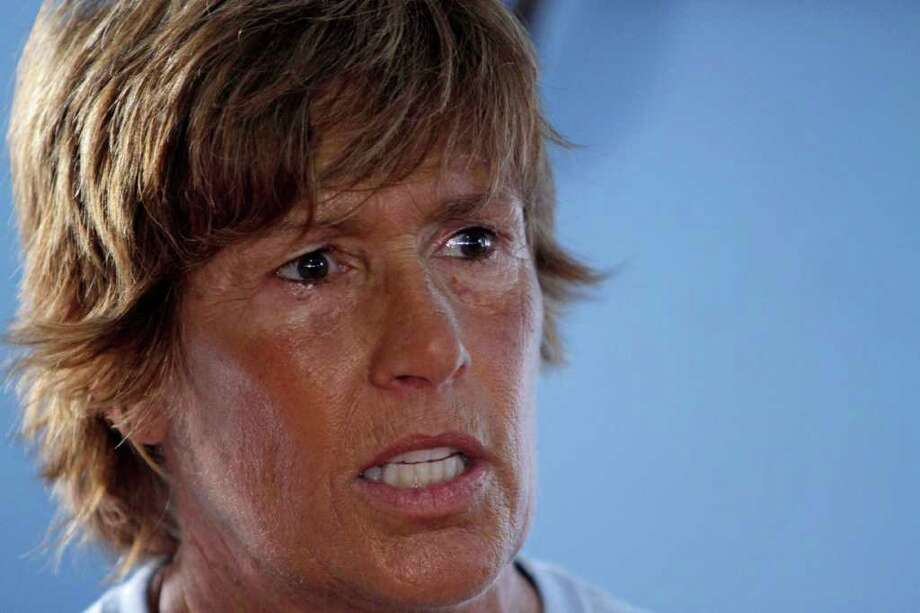 U.S. swimmer Diana Nyad, 61, speaks during a press conference in Havana, Cuba to announce her 103-mile crossing between Cuba and Key West in Florida, Sunday, Aug. 7, 2011. Nyad will begin her journey Sunday night and expects to accomplish her goal in approximately 60 hours. (AP Photo/Franklin Reyes) Photo: Franklin Reyes, STR / AP