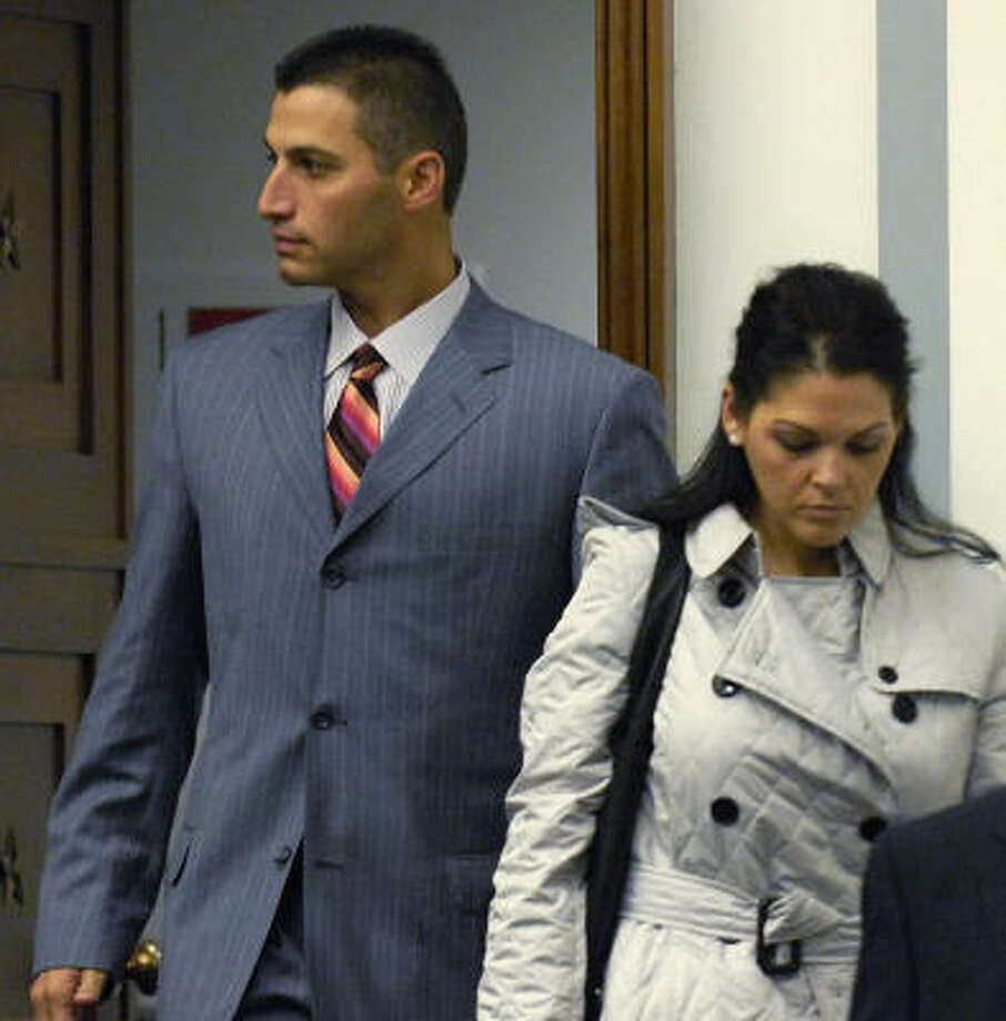 Andy and Laura Pettitte went to Washington for his deposition, but he did not have to testify in the House. Photo: Jonathan Ernst, Getty Images
