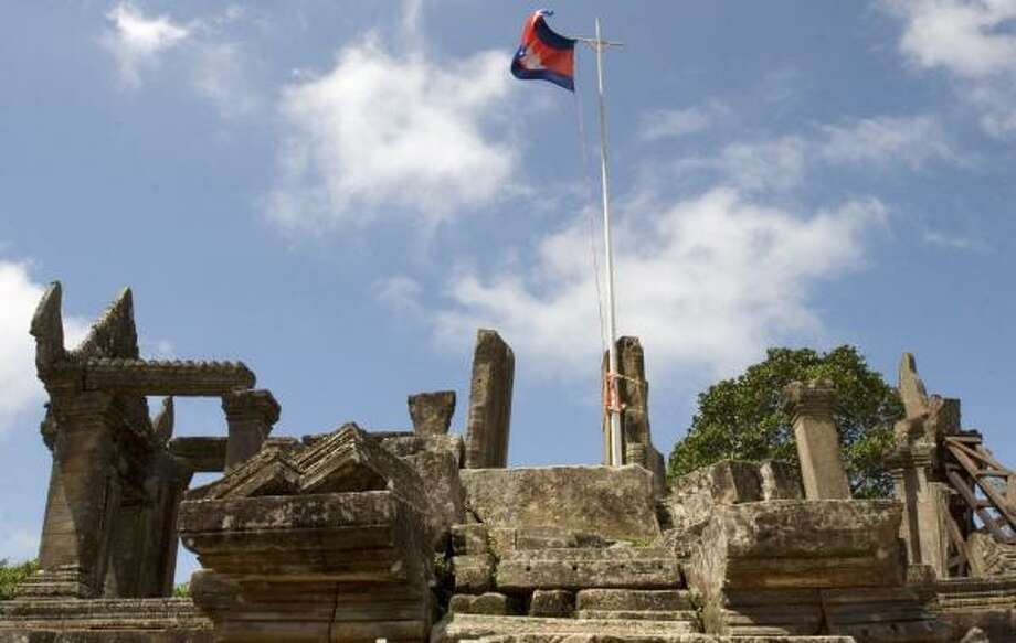 As the Khmer empire, which once encompassed parts of Thailand and Vietnam, shrank to the size of present-day Cambodia and the country was plunged into civil war, the Preah Vihear temple fell into disrepair. Steps, walls and pillars have collapsed. Photo: HENG SINITH PHOTOS, ASSOCIATED PRESS