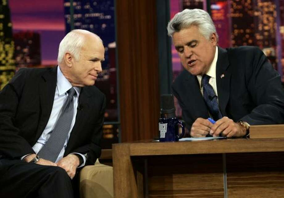 Republican presidential candidate Sen. John McCain talks with Jay Leno while filming The Tonight Show on Monday. Photo: MARY ALTAFFER, ASSOCIATED PRESS