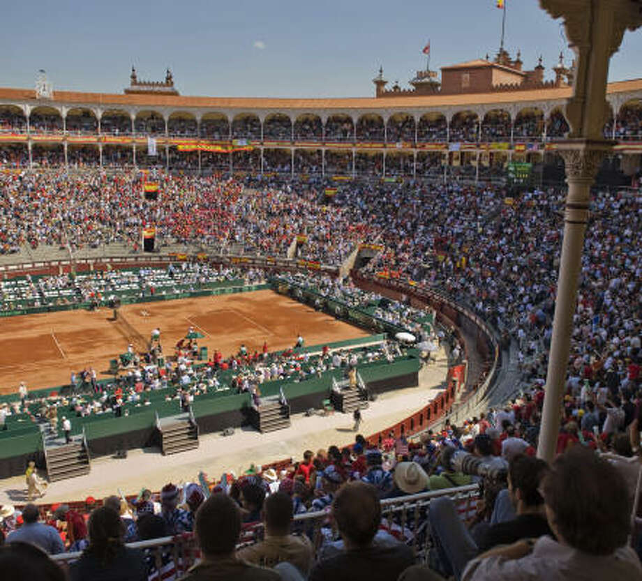 Spain its hosting its part of the Davis Cup in a bullfighting arena. Photo: PEDRO ARMESTRE, AFP/Getty Images