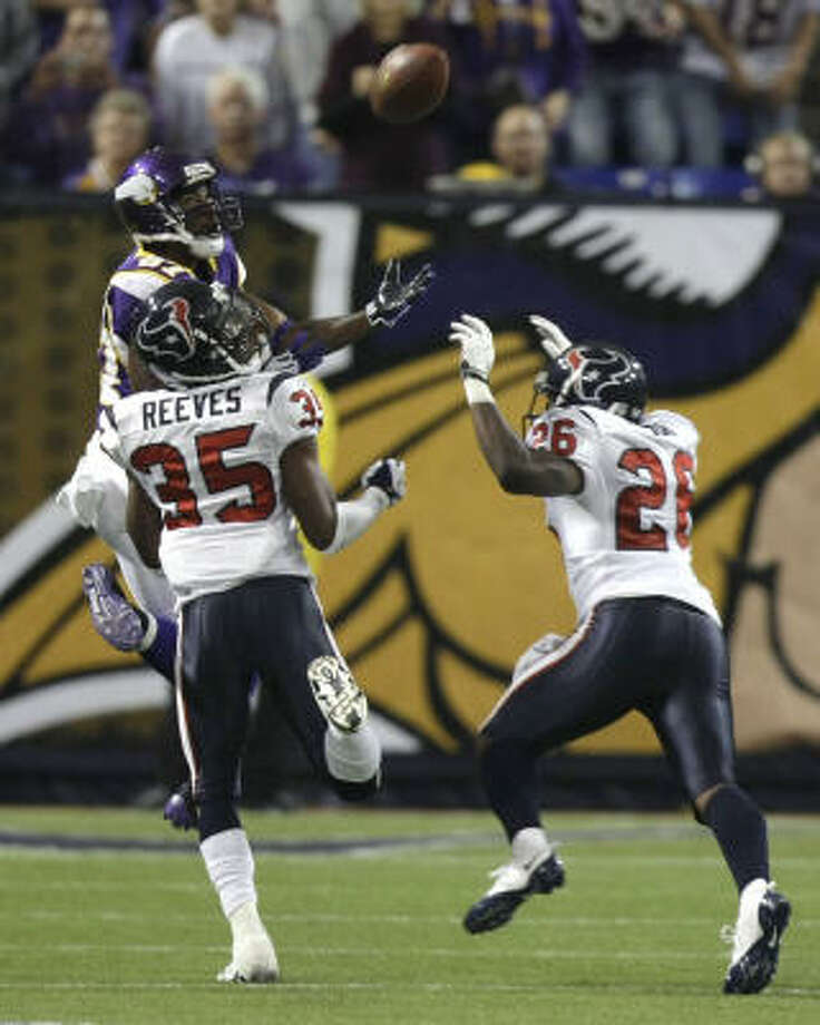 Texans cornerback Jacques Reeves isn't the best player at his position in the league. But he's not the worst either. Just check his stats. Photo: Brett Coomer, Houston Chronicle