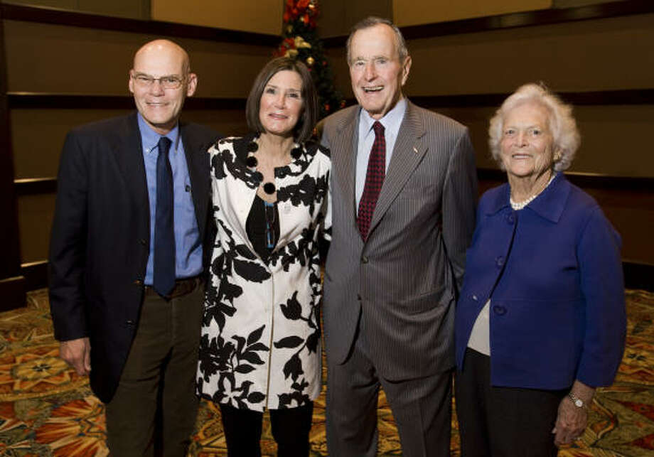 James Carville, from left, Mary Matalin, former President George Bush and Barbara Bush Photo: Brett Coomer, Chronicle