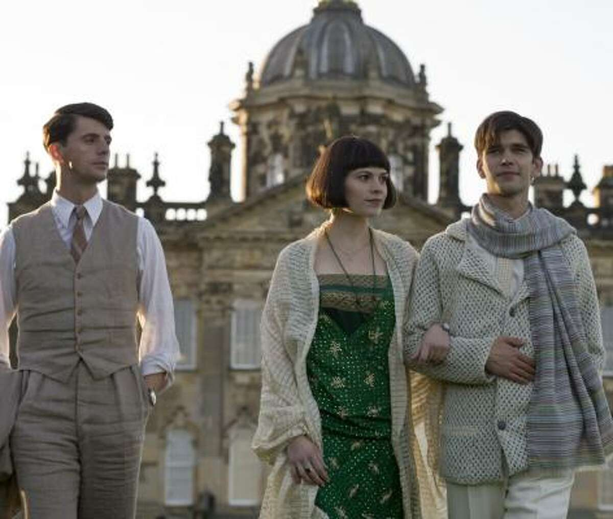 In Brideshead Revisited, Charles Ryder (Matthew Goode, left) forms friendships with Julia Flyte (Hayley Atwell) and Sebastian Flyte (Ben Whishaw).