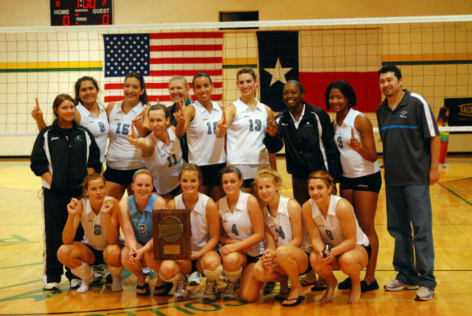 NUMBER ONE: The San Jacinto College volleyball team earned its fourth-straight Region XIV title, and a berth in the national tournament, with a win over Laredo Community College Nov. 1 in Laredo. Photo: Amanda L. Booren, SPECIAL FOR THE CHRONICLE