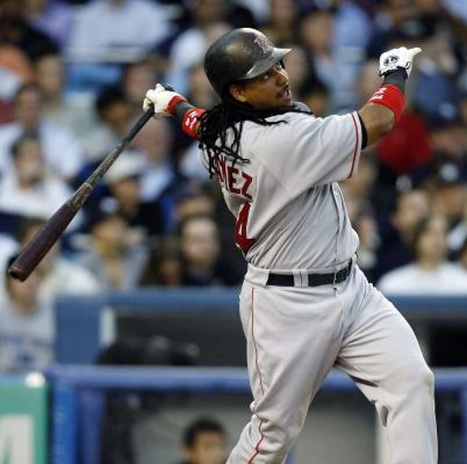 Manny Ramirez has four homers and 11 RBIs in his last 26 at-bats against Yankees righthander Mike Mussina. Photo: JEFF ZELEVANSKY, GETTY IMAGES