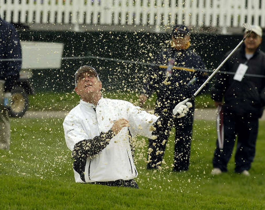 Jay Haas (shown at No. 18) is trying to win his second Senior PGA in three years. Photo: Don Heupel, AP