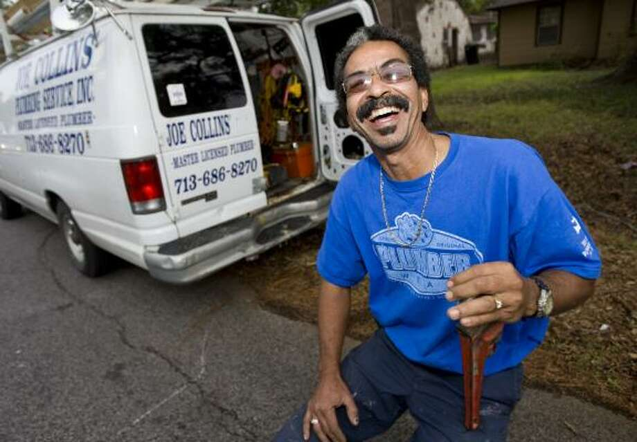 Joe Collins, one of several plumbers in the area who happen to be named Joe, talks about the attention he's received since the debate as he leaves a job Thursday in Houston. Collins said he's turned down interviews because he's been busy. Photo: NICK De La TORRE, CHRONICLE