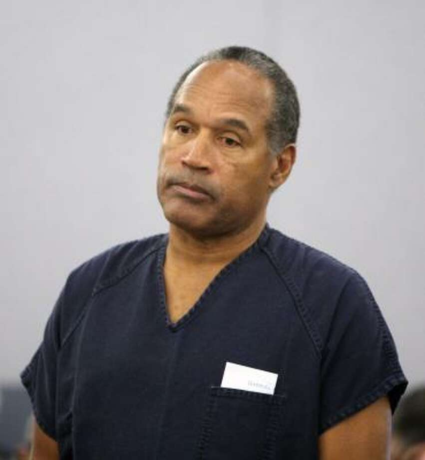 O.J. Simpson appears in court during his sentencing hearing at the Clark County Regional Justice Center in Las Vegas. Photo: Isaac Brekken, AP