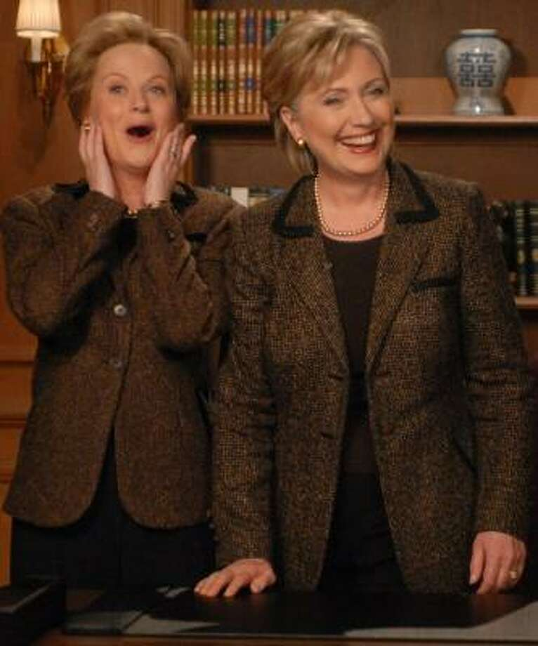 Sen. Hillary Rodham Clinton, right, appears on Saturday Night Live with Amy Poehler, who plays Clinton on the show. Photo: DANA EDELSON, NBC