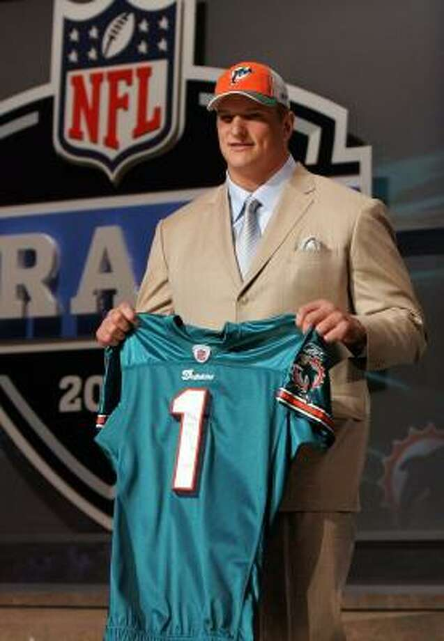 Jake Long's selection was made official on Saturday when the Dolphins took him No. 1. Photo: JIM McISAAC, GETTY IMAGES