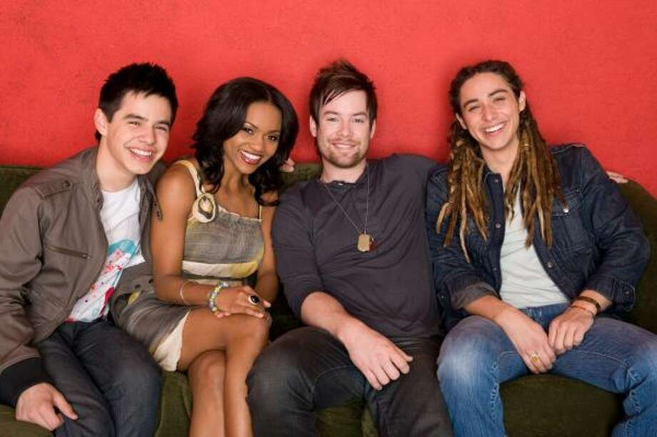 The audience is declining among youthful viewers for the remaining American Idol contestants David Archuleta, from left, Syesha Mercado, David Cook and Jason Castro. Photo: MICHAEL BECKER, FOX | ASSOCIATED PRESS