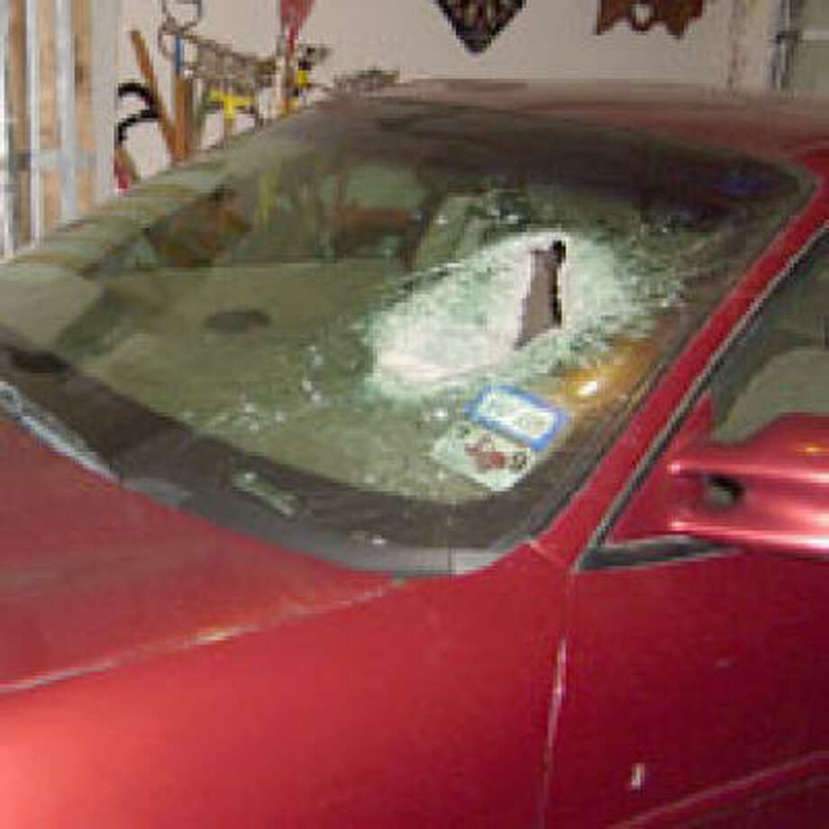 A brick thrown through Megan Cox's windshield inflicted severe facial injuries. Photo: Crime Stoppers