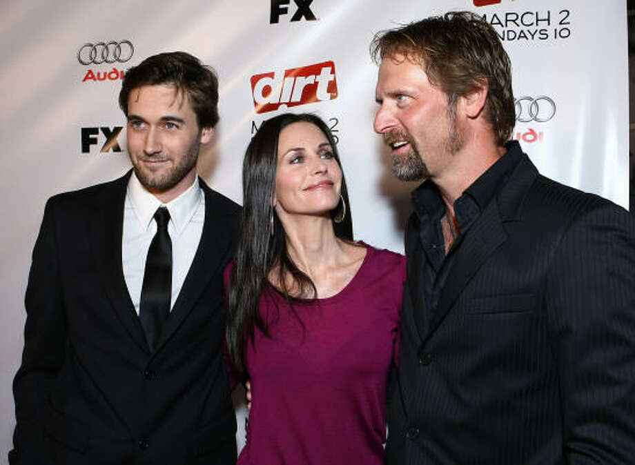 Actors Ryan Eggold, Courteney Cox and Jeffrey Nordling arrive at the second season premiere of FX Network's Dirt. Photo: Alberto E. Rodriguez, Getty Images