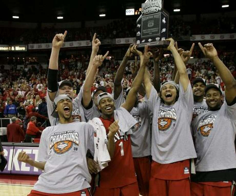 UNLV celebrates its upset of top-seeded BYU to win the Mountain West Conference championship for the second straight season. Photo: LAURA RAUCH, ASSOCIATED PRESS