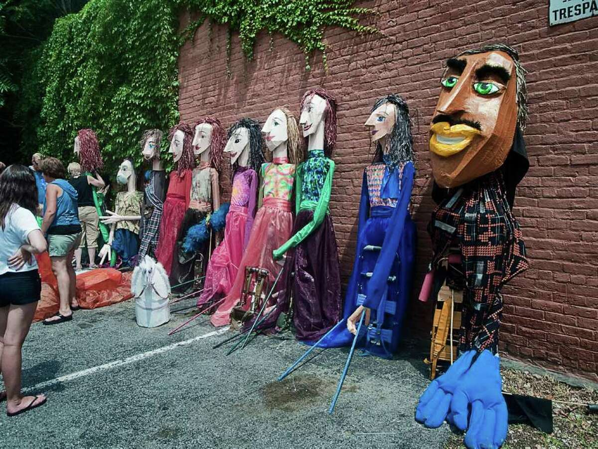 Norwalk's SoNo Arts Celebration on August 7 featured a puppet parade in which attendees were encouraged to pick up a puppet and join the performers.