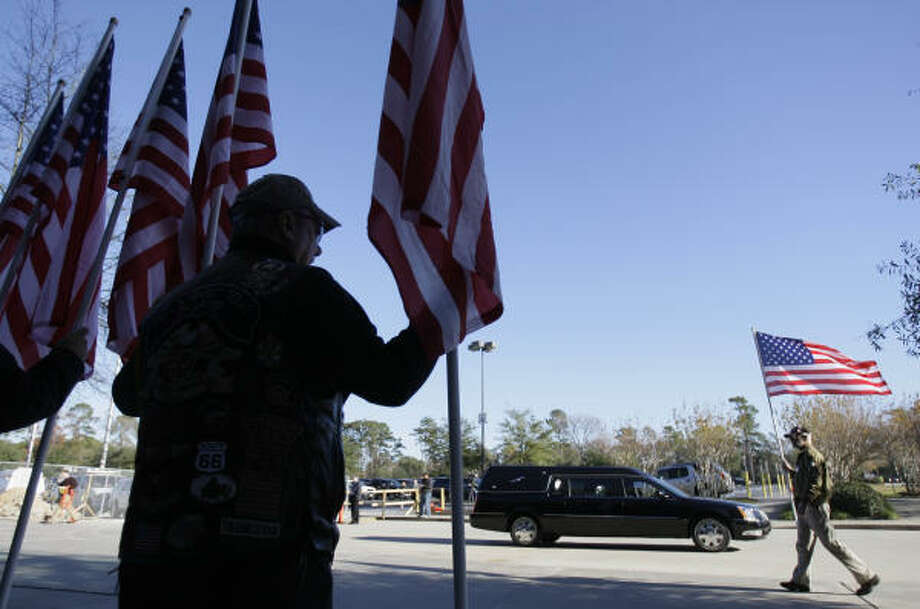 Patriot Guard Riders assemble outside the funeral for Houston police officer Timothy S. Abernethy at Champion Forest Baptist Church, 15555 Stuebner Airline Road, on Friday, Dec. 12, 2008, in Houston. Officer Abernethy was killed in the line of duty during a traffic stop on Sunday, Dec. 7. Photo: Melissa Phillip, Chronicle