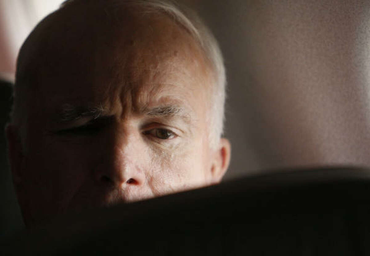Sen. John McCain, R-Ariz., lands in his campaign charter plane Monday in Trenton, N.J., for campaign events in New Jersey and New York.