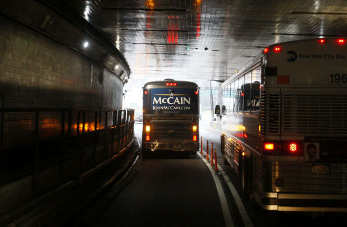 """The """"Straight Talk Express"""" carries McCain to campaign events in New York."""