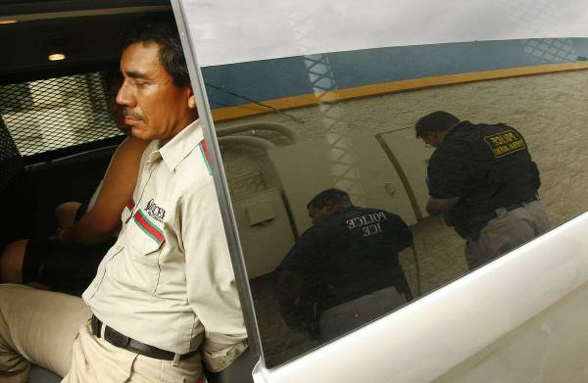 A man is arrested during the ICE raids.