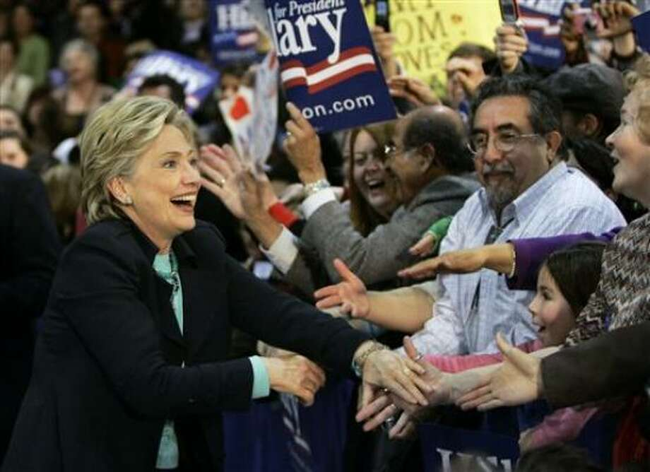 Sen. Hillary Rodham Clinton greets supporters at a rally in Albuquerque, N.M., on Saturday. Photo: Elise Amendola, Associated Press